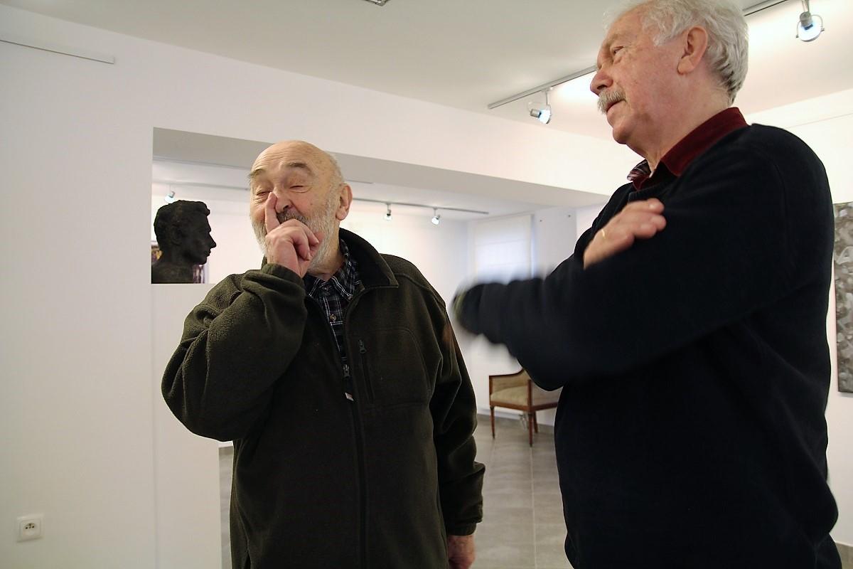Jan Kocz i Leszek Mądzik. Wernisaż wystawy Jacek Sempoliński. Malarstwo, 25 marca 2017 roku.