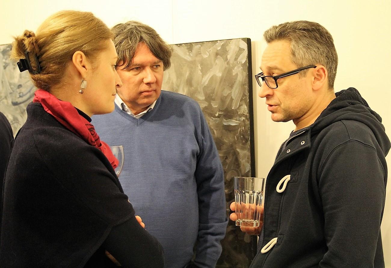 Jacek Sempoliński. Malarstwo. Wernisaż w galerii spa spot, 25 marca 2017 roku. Urszula Ślusarczyk z mężem i Ernest Malik.