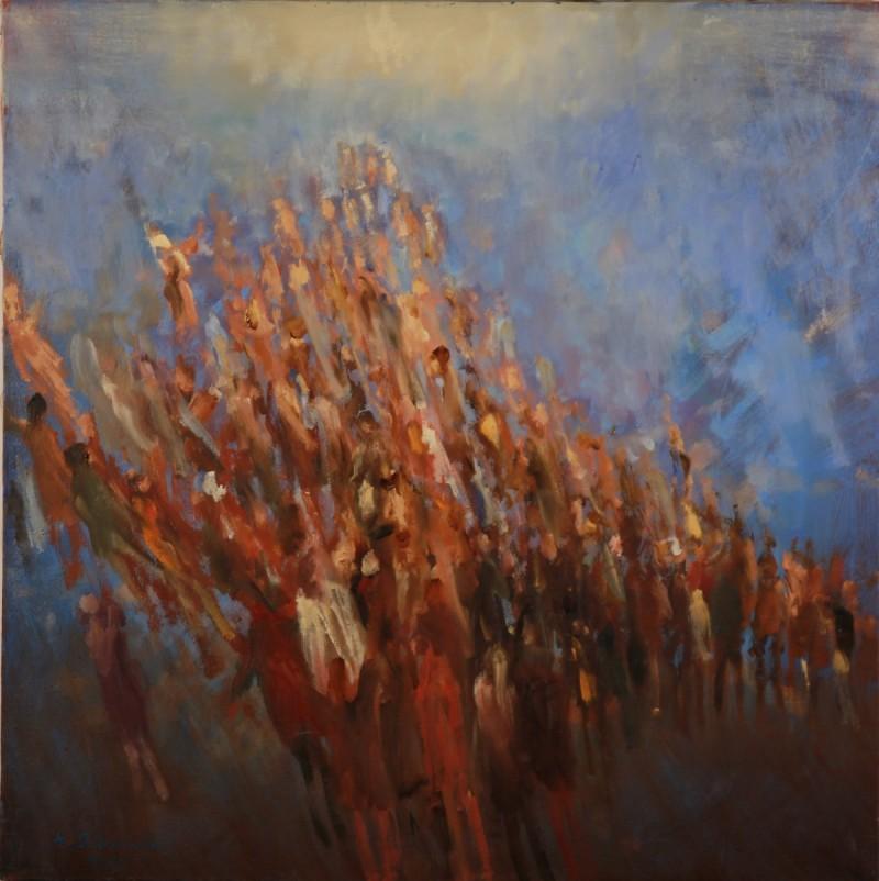 """Andrzej Siemiński - """"Pielgrzymka"""", 1995, olej na płótnie, 55x55."""