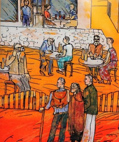 Danka Wierzbicka miedzy kuzynami: Przemek Michalik (z prawej) i autor z plecakiem (z lewej). Fotografuje Stanisław Łazorek. Fragment obrazu na szkle Danuty Wierzbickiej.