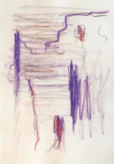 Zamek w Janowcu, tłusty pastel na papierze, 60 x 40, październik 2003 roku.
