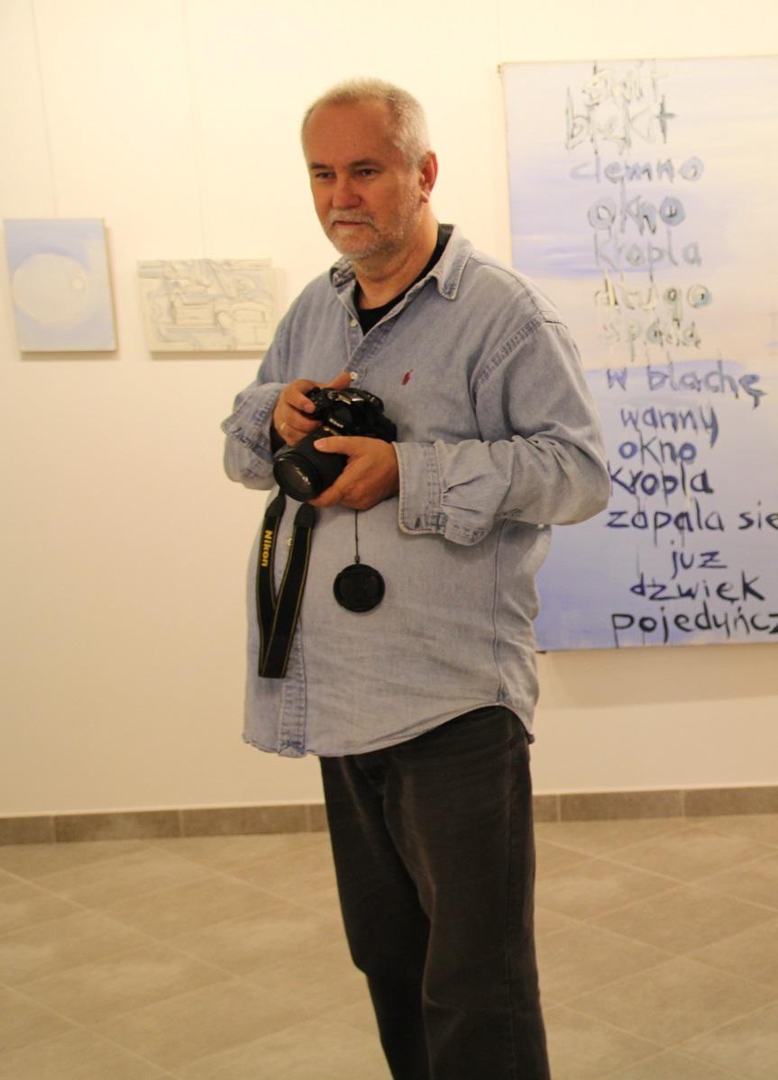 Jerzy Jacek Bojarski. Wystawa malarstwa Andrzeja Zwierzchowskiego, maj 2014 roku.