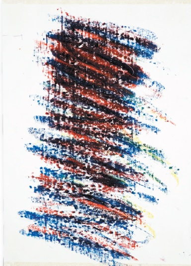 Wisła pod zachód, wrzesień 2003, pastele olejne, papier, 42x30